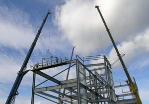 Steelwork being erected opposite Mecca Bingo on Derby Road