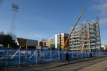 Wrexham Village Phase 2 Steelwork under construction